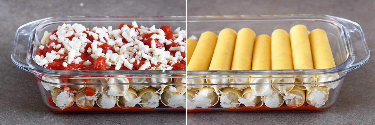 קנלוני במילוי גבינות וחצילים קלויים