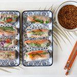 ספרינג רול במילוי ירקות, טופו ואטריות אורז