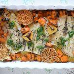 פילה דג בתנור עם בטטות, ראשי שום וצ'ימיצ'ורי