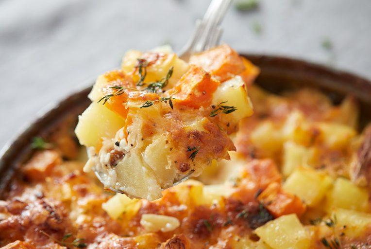 תפוחי אדמה ובטטה מוקרמים. צילום: טל סיון צפורין. סטיילינג: אינה גוטמן